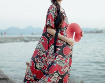 Coming back: Lost in Kyoto Collection black and red floral classic Japanese traditional painting dress