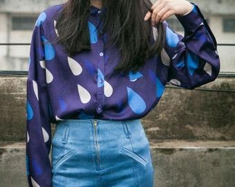 London Season Collection blue rain drop long sleeve shirt