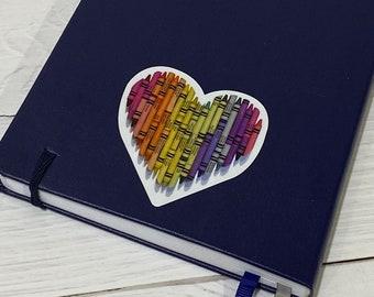 Heart Vinyl Decal / Crayon Heart Sticker/ Cute Sticker / Rainbow heart Sticker / MacBook Decal/ Laptop Sticker/ Water Bottle Sticker