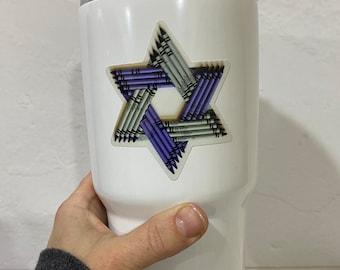 Jewish Star Vinyl Decal / Star of David Sticker/ Cute Sticker / Crayon Star Sticker / MacBook Decal/ Laptop Sticker/ Water Bottle Sticker