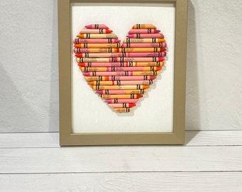 READY TO SHIP - Cut Crayon Heart, Framed wall Art, Custom baby gift, Teacher appreciation, personalized Crayon Hearts, Pink & Orange Heart