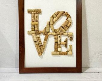 WINE CORK LOVE art, Handmade Framed Personalized Cork Art, Wedding Gift, Housewarming, Hostess Gift, Custom Anniversary gift. Ready To Ship