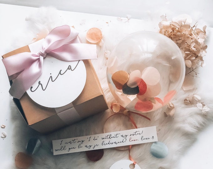 Featured listing image: SET OF 1 - Bridesmaid Proposal Box, Will you be my Maid Of Honor? Bridesmaid? Custom Gift Box- How to ask your Bridesmaid Pop me balloon box
