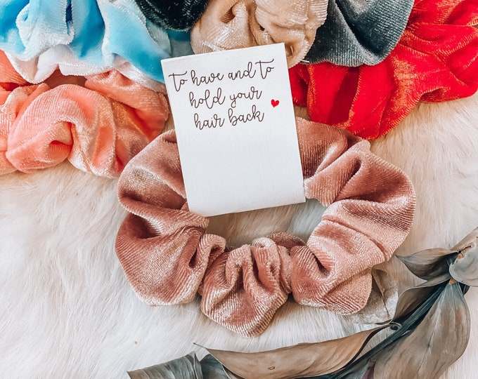 Featured listing image: Custom Hair Ties - Srunchie Bridesmaid - Bridal Shower gifts - Scrunchie For Bridesmaid - Scrunchie Card - Bridesmaids -bridal party gifts.