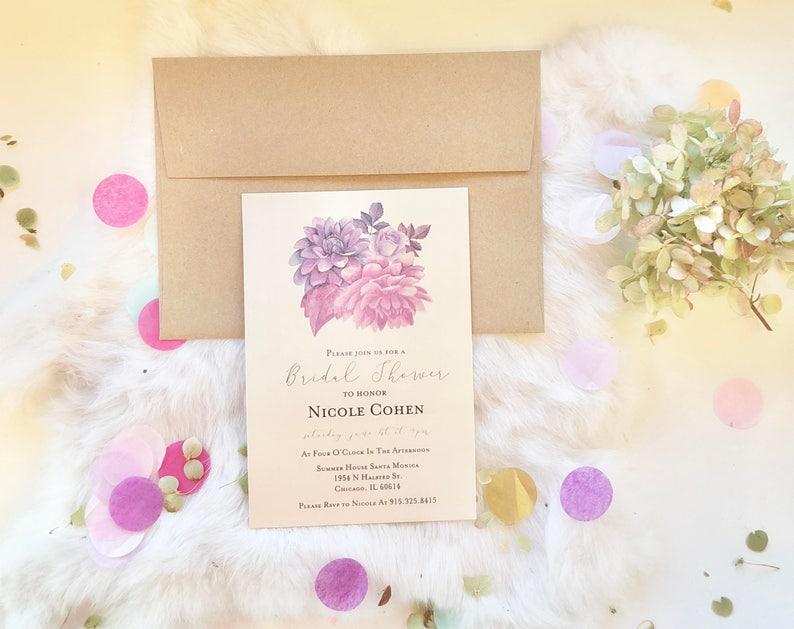 Purple Floral Wedding Bridal Shower Invitation Printed or Print Yourself Digital Invite