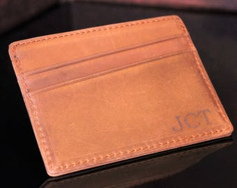 Personalized Leather Wallet, Minimalist Wallet, Thin Wallet, Slim Wallet, Personalized Wallet, Mens Gift, Groomsmen Gifts