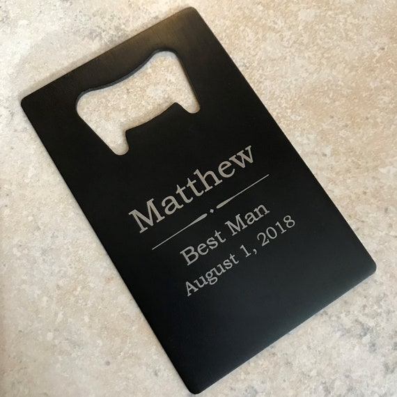 "Personalized /""Man Card/"" credit card sized bottle openers"