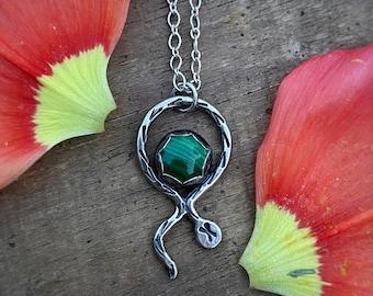 """Malachite Tiny Snake Necklace / 17"""" / Sterling Silver Everyday Pendant / Handmade"""