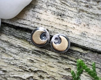 Mixed Metal Mini Moon Studs / Sterling Silver & Brass Crescent Moon Earrings