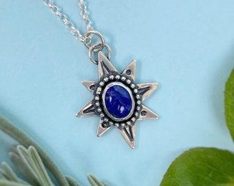 "Lapis Lazuli Polaris Necklace / 17"" / Sterling Silver Starry Pendant"