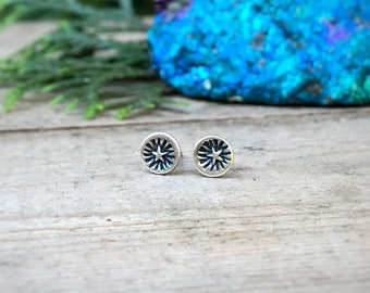 Small Starburst Studs / Sterling Silver Circle Stud Earrings / Simple Round Earring / Unisex Studs / Stamped Jewelry / Celestial Earrings