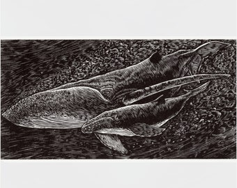 """WHALES Engraving - """"Mother and Calf"""" - Limited Edition Letterpress Print"""