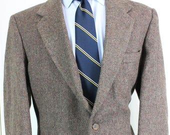 Vintage Tweed Blazer 42R Farah Clothing Brown Herringbone Wool Sport Coat