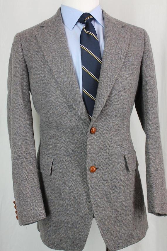 Vintage 40L Neil Martin gris à chevrons Tweed 100 % laine Sport manteau Blazer veste n ° 7