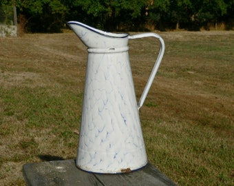 Large vintage French blue and white marbled enamel water jug - graniteware pitcher -