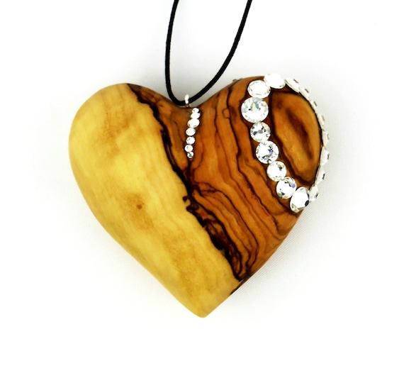 heart shaped ornaments olive wood heart ornament ooak etsy