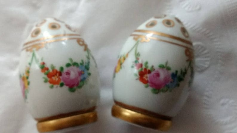 Dresden Bone China Salt and Pepper in Gold Trim with a Floral Motif.