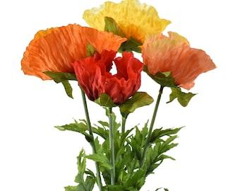 silk flowers poppy bouquet green poppy yellow poppy artificial flowers Shirley poppies pink poppy Large poppy flowers 3 colors