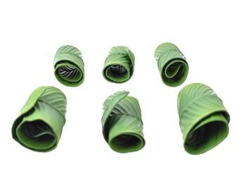 Green Tropical Banana Leaf Napkin Rings Set of 6