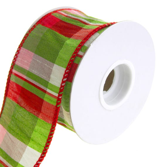 Lime Plaid Wired Dupioni Christmas Holiday Ribbon 2-1/2