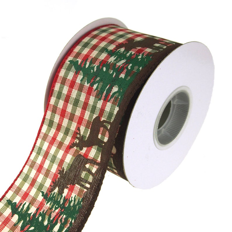 2-12-Inch Moose Woods Country Gingham Wired Christmas Holiday Ribbon 10 Yards