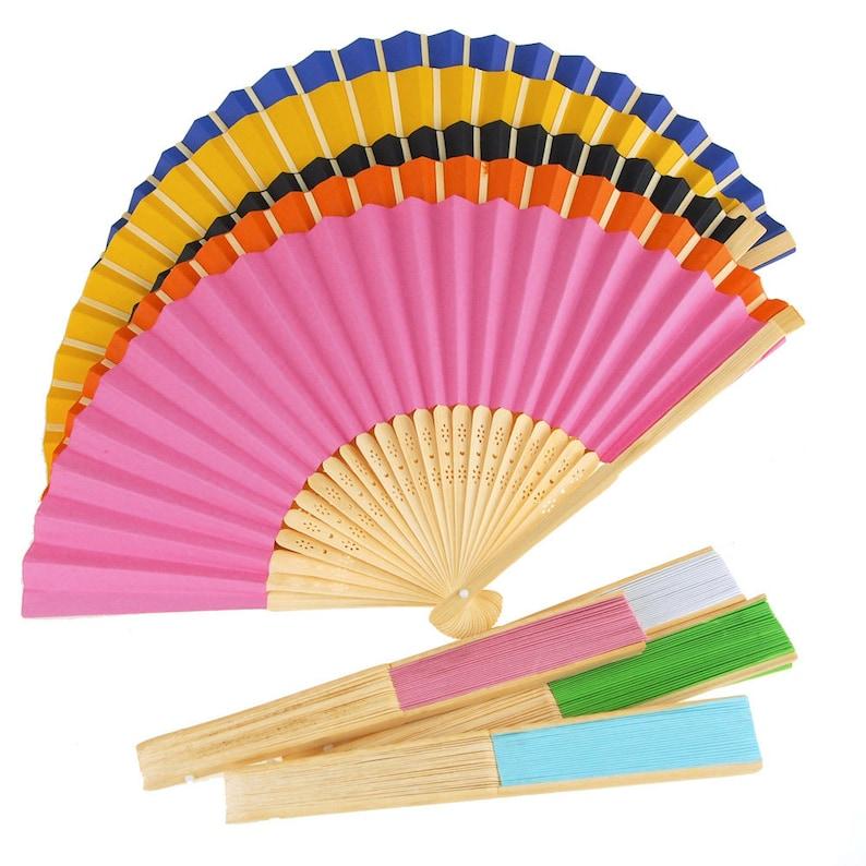 Paper Folding Hand Fan w/ Wooden Handle 8-Inch image 0