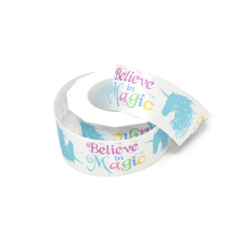 Unicorn Believe In Magic Satin Ribbon 10-Yard White 1-12-Inch