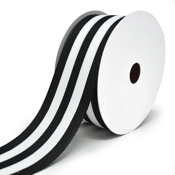 "5 Yds Black White Grey Cabana Stripe Wired Ribbon 1 1//2/""W"