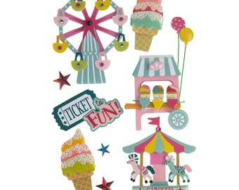 Carnival 3D Handmade Stickers, 6-Count
