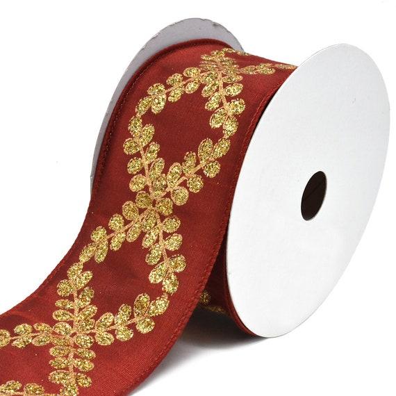 Glitter Filigree Crest Scroll Dupioni Wired Christmas