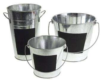 Galvanized Metal Pail Buckets with Chalkboard Label