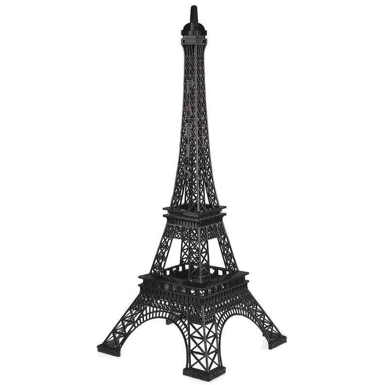 20-inch Black Tall Metal Eiffel Tower Paris France Stand