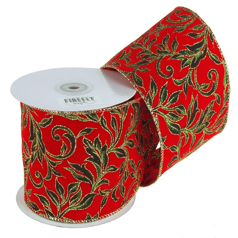 10 Yards RedGreen Poinsettias Glitter Canvas Ribbon Wired Edge