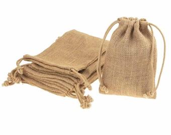 Natural Burlap Favor Bags with Drawstring, 12-Piece