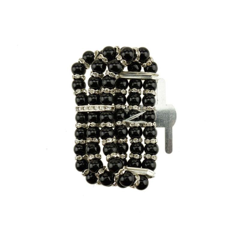 1-Inch Black Corsage Wristlet with Pearl and Rhinestone Band