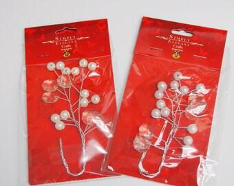 Acrylic Pearl Bead Floral Spray, 5-inch