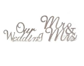 Cursive Metal Rhinestone Celebration Cake Toppers, Wedding/Birthday