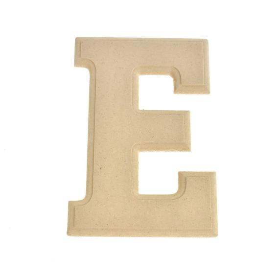 6-Inch Natural Pressed Board Beveled Wooden Letter E