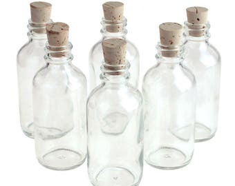 Glass Boston Bottle Corked Jars, Boston, 3-1/2-Inch, 6-Piece
