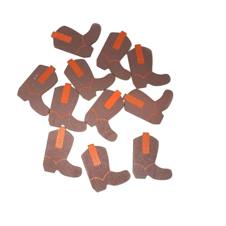 1-12-Inch Small Cowboy Boots Wooden Favors Brown 100-Count