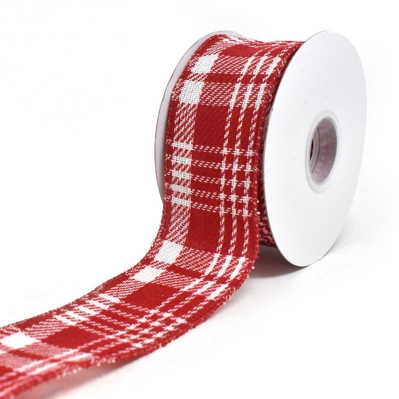 10-Yard Twill Peppermint Plaid Wired Edge Christmas Ribbon 2-12-Inch