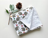 Hedgehog Baby Blanket Double Layer Flannel Baby Blanket Reversible Baby Blanket Gender Neutral Baby Blanket Large Receiving Blanket