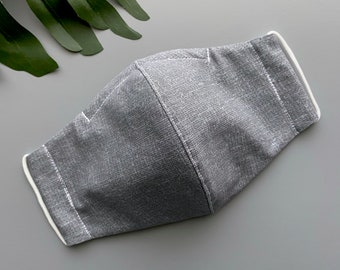 3-ply Washable Gray/Dark Gray Check Face Mask * Face Mask with Filter Pocket and Nose Wire * Fitted Adult Face Mask * Olson Style Face Mask
