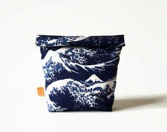 Reusable snack bag, sandwich bag, Doggy bag size, fabric basket, reusable, eco friendly, zero waste, vegan - Hokusai style #523
