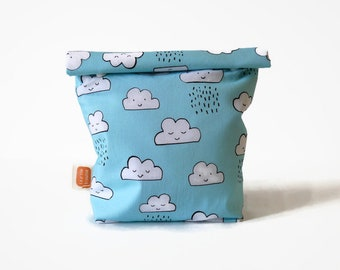 Reusable snack bag, sandwich bag in Doggy bag format, washable bag for zero waste lunch — Happy clouds