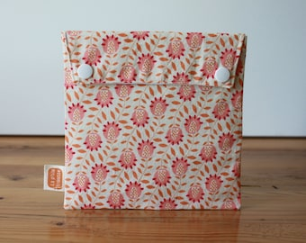 Reusable sandwich bag, reusable snack bag, fabric bag in with Gypsy flowers print #110, eco friendly, no waste