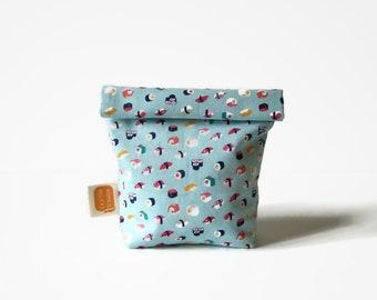 Reusable snack bag, sandwich bag, Doggy bag size, fabric basket, reusable, eco friendly, zero waste, vegan - Tiny sushis print #57