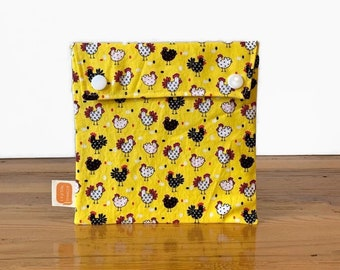 Reusable sandwich bag, reusable snack bag, fabric bag with Chicks in Yellow print [#490], eco friendly, zero waste lunch, washable