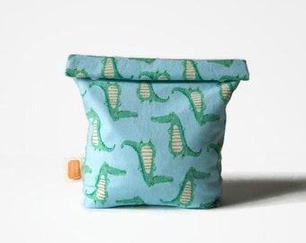 Reusable snack bag, sandwich bag in Doggy bag format, transformable eco friendly bag — Alligator