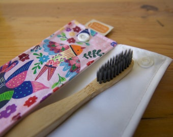 Zero waste case for lunch box, utensils or toothbrush pouch, travel case - Mexicain birds